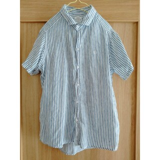 coen - coen リネン ストライプシャツ(半袖)