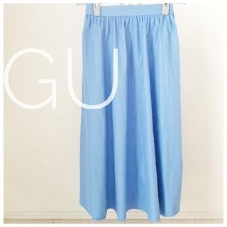 ジーユー(GU)の空色☁️ フレアスカート ミモレ丈(ロングスカート)