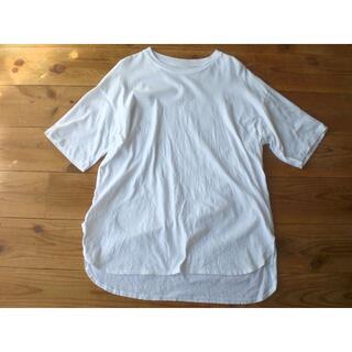 ムジルシリョウヒン(MUJI (無印良品))の無印良品 コットン 半袖チュニック 綿 M~L 白ホワイト ロングTシャツ 半袖(チュニック)