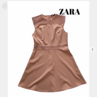ZARA - ZARA ザラ 膝丈ワンピース ドレス ピンク レース刺繍 華やか