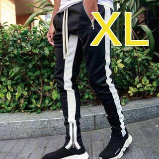 ラインパンツ ジョガーパンツ メンズ スウェット 黒 ブラック XL スウェット
