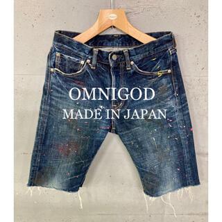 オムニゴッド(OMNIGOD)のOMNIGOD ペンキ加工デニムショートパンツ!日本製!(ショートパンツ)