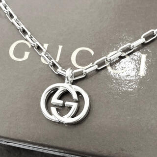グッチ(Gucci)の正規品 グッチ ネックレス シルバー SV925 GG インターロッキング 銀8(ネックレス)