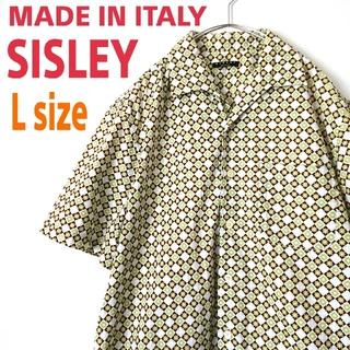 ART VINTAGE - イタリア製 SISLEY オープンカラーシャツ 半袖  柄シャツ  Italy