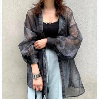 WHO'S WHO gallery - シアーシャツ タイダイ柄 ブラック 黒 韓国 韓国ファッション シャツ