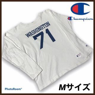 チャンピオン(Champion)のチャンピオン フットボールTシャツ M ヘビーウェイト ロンT 70s復刻 古着(Tシャツ/カットソー(七分/長袖))