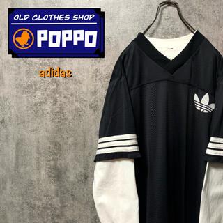 adidas - アディダス☆USA製ビッグロゴ・トレフォイルロゴプリントゲームシャツ 90s
