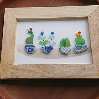 シーグラスアート ガラスナギット サボテン 多肉植物 ボタニカル L判(アート/写真)