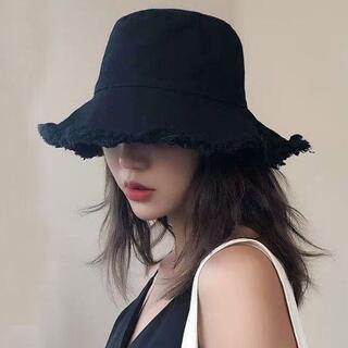 【ブラック】UVカット つば広 ハット 小顔効果 紫外線対策 帽子 レディース