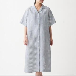 ムジルシリョウヒン(MUJI (無印良品))の無印 リネン 五分袖開襟ワンピース ストライプ(その他)