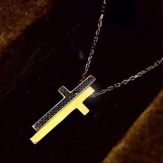 グッチ(Gucci)のGUCCI グッチ K18 ブラックダイヤモンド セパレートクロスネックレス(ネックレス)