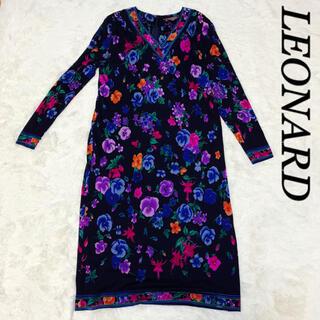 LEONARD - 【美品】レオナール ロングワンピース 花柄 シルク100%