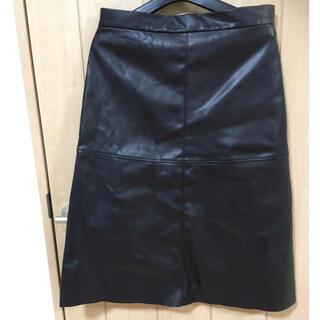 エイチアンドエム(H&M)のレザースカート H&M(ひざ丈スカート)