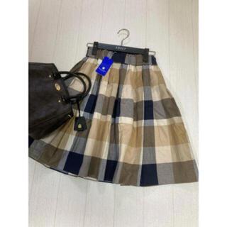 バーバリーブルーレーベル(BURBERRY BLUE LABEL)の新品 クレストブリッジ ブルーレーベル スカート チェック(ひざ丈スカート)