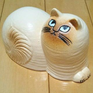 リサラーソン(Lisa Larson)の新品 ◆ リサラーソン 猫 マイ 白×茶 maj Lisa Larson 北欧(置物)