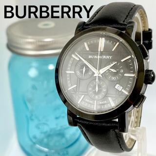 BURBERRY - 263 バーバリー時計 ブラック メンズ腕時計 クロノグラフ デイト入り 箱付き