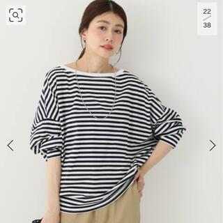 Plage - RIAM plage フェミニン天竺ボーダーtシャツ 紺色
