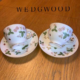 ウェッジウッド(WEDGWOOD)のウェッジウッド ロイヤルストロベリー   ペア カップ&ソーサ(食器)