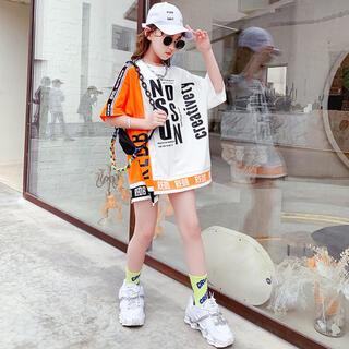 KUEA092ロングTシャツ 子供服 キッズ 夏 ゆったり 可愛い 薄手 英文字