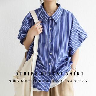 antiqua - アンティカ ストライプ柄ワイドシャツ