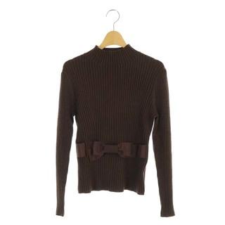 M'S GRACY - エムズグレイシー リブニット セーター ハイネック プルオーバー 長袖 40 茶