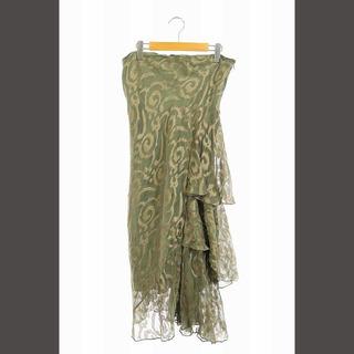 ラルフローレン(Ralph Lauren)のラルフローレン スカート フリル シルク ロング フレア 総柄 4 カーキ(ロングスカート)