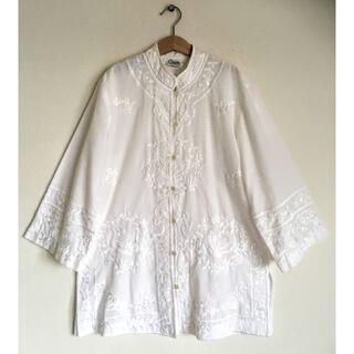 Lochie - 希少!ヴィンテージ刺繍チャイナカラー純白ジャケット/ジャンティーク/民族衣装