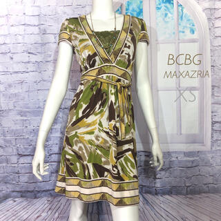 BCBGMAXAZRIA - BCBG マックスアズリア カーキグリーン アースカラーワンピース XS