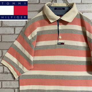 TOMMY HILFIGER - 90s 古着 トミーヒルフィガー ポロシャツ 刺繍ロゴ ビッグシルエット