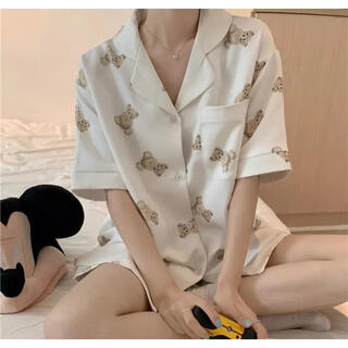gelato pique - ベア くま 茶色 ルームウェア パジャマ 上下 セット 半袖 量産 地雷