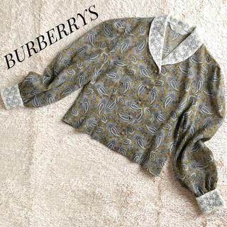 BURBERRY - オールドバーバリー♦ ペイズリー柄 レース ブラウス レトロ シャツ M