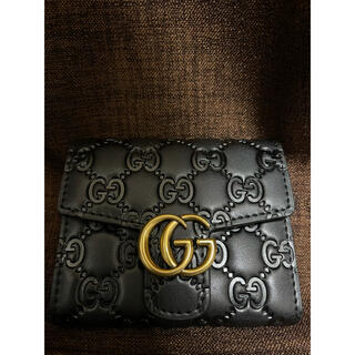 Gucci - GUCCI  二つ折り 財布 BLACK 黒 メンズ レディース