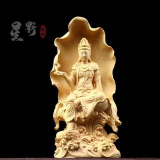 木工細工 彫刻  自在観音菩薩 精密彫刻 仏師で仕上げ品(彫刻/オブジェ)