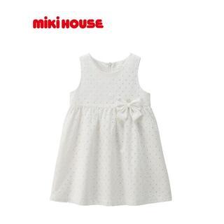 mikihouse - ミキハウス ダイヤ柄の綿レース ワンピース 美品 90