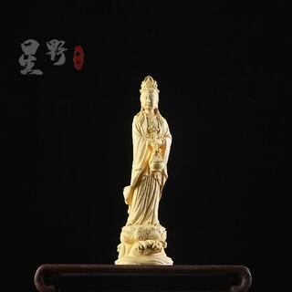 彫刻工芸品  観音菩薩立像 仏師で仕上げ品 風水開運 置物(彫刻/オブジェ)