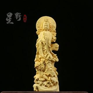 仏教美術品 御竜観音 実木彫刻 置物 精密細工 彫刻 (彫刻/オブジェ)