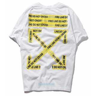 黄色テープ メンズ レディース Tシャツオーバーサイズ ペアルック オフホワイト(Tシャツ/カットソー(半袖/袖なし))