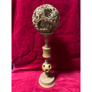 白檀 中国美術 天球 木彫り 龍精密 彫刻 置物 精密彫造 25万円の品(彫刻/オブジェ)