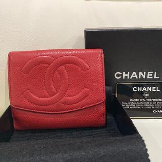 CHANEL - ヴィンテージ CHANEL レアカラー 赤 キャビアスキン 財布 折り財布
