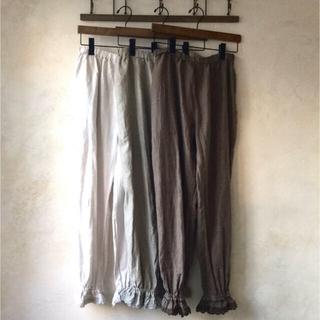 nest Robe - ネストローブnest Robeブラックヘンプフリルパンツ最終お値下げ