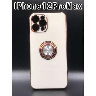 iPhone12ProMax スマホケース 人気 韓国 シンプル 白 F(iPhoneケース)