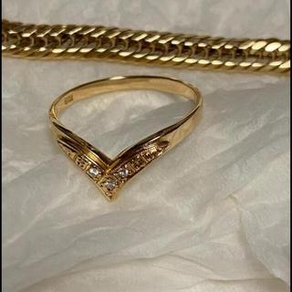 K18 イエローゴールドダイヤモンド V字リング(リング(指輪))