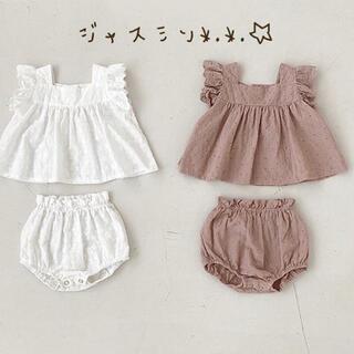 80 韓国子供服 ブラウン トップス パンツ 2点セット