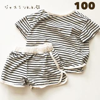 100 ブラック ストライプ 半袖Tシャツ 短パン セットアップ
