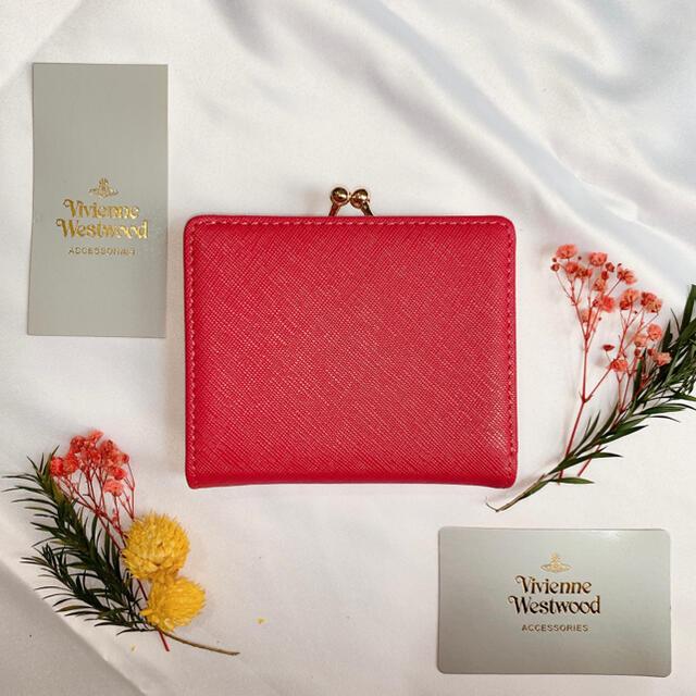 Vivienne Westwood(ヴィヴィアンウエストウッド)のヴィヴィアンウエストウッド 二つ折り財布 がま口 ピンク ベージュ 美品 未使用 レディースのファッション小物(財布)の商品写真