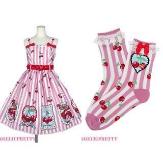 アンジェリックプリティー(Angelic Pretty)のCherry Stampジャンパースカート&ソックスセット(ひざ丈ワンピース)