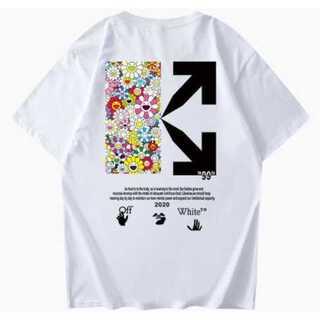 花柄 白 メンズ レディース Tシャツ オーバーサイズ ペアルック オフホワイト(Tシャツ/カットソー(半袖/袖なし))