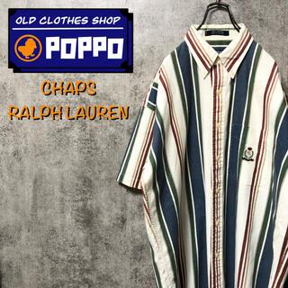 Ralph Lauren - チャップスラルフローレン☆ポケット刺繍ロゴ半袖マルチストライプシャツ 90s