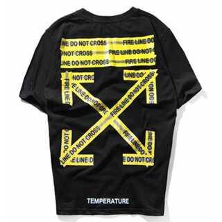 黄色テープ メンズ レディース Tシャツ 黒 ペアルック オフホワイト(Tシャツ/カットソー(半袖/袖なし))