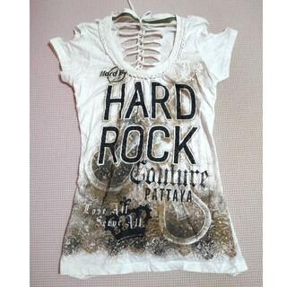 ロックハード(ROCK HARD)のハードロックカフェパタヤTシャツレースアップレディース背中空きストーン付(Tシャツ/カットソー(半袖/袖なし))